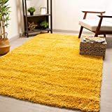 Super Area Rugs Fluffy & Soft Fiber Shag Rug Perfect for Living Rooms, Dining Rooms and Home Decor, Yellow, 3' 3'' X 5' 3'' Rectangle