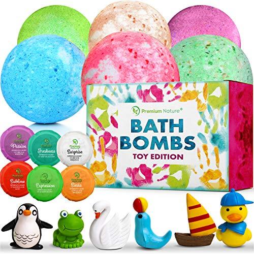 Badekugeln Badeset Badebomben für Kinder - 6 Bath Bombs Set Badeperlen Kinder Badebombe mit Spielzeug Schaumbad Badekugel Geschenk Badezusatz Gift Natürlich Mädchen & Jungen Kids Bath Bomb