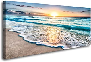 Baisuart S02250 Canvas Prints Wall Art Beach Sunset Ocean Waves Nature Pictures Stretched..