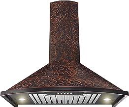 """AKDY Wall Mount Range Hood -30"""" Embossed Copper Hood Fan for Kitchen – 3-Speed.."""