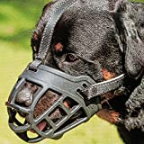 "Dog Muzzle,Soft Basket Silicone Muzzles for Dog, Best to Prevent Biting, Chewing and Barking, Allows Drinking and Panting, Used with Collar (3 (Snout 10-12""), Black)"