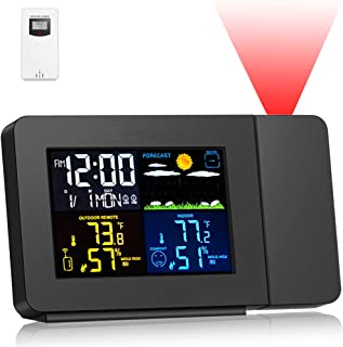 SMARTRO SC91 Projection Alarm Clock for Bedrooms with Weather Station, Wireless Indoor..