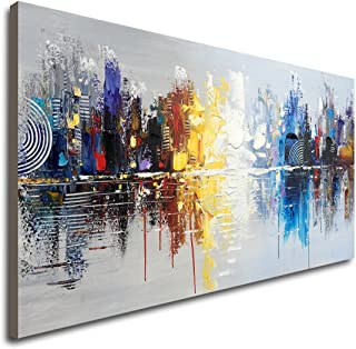 Hand Painted Cityscape Modern Oil Painting on Canvas Reflection Abstract Wall Art Decor..