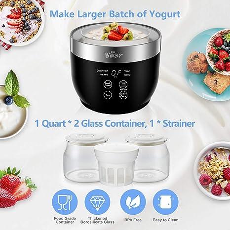 Amazon.com: Bear Yogurt Maker, Greek Yogurt Maker Machine with Strainer and Timer Control, Yogurt Maker with Stainless Steel Inner Pot, Automatic Digital Yogurt Maker with 2 Glass Jars 1 Quart for Home