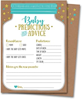50 Mason Jar Baby Shower Prediction and Advice Cards – Gender Neutral Boy or Girl,..
