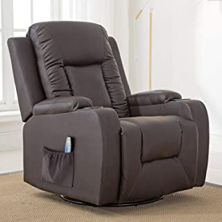 ComHoma Recliner Chair Massage Rocker with Heated Modern PU Leather Ergonomic Lounge 360..