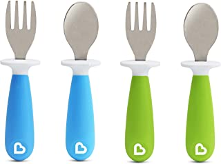 Munchkin 4 Count Raise Toddler Fork and Spoon, Blue/Green, 12+