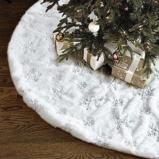 Christmas Tree Skirt – 48 inches Large White Luxury Faux Fur Tree Skirt Christmas..