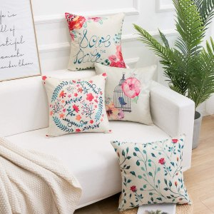 Famibay Cotton Linen Pillow Covers