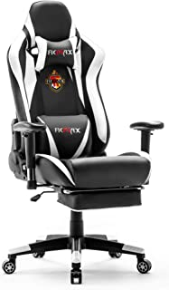Ficmax Massage Gaming Chair Racing Style Office Chair with Footrest Reclining Computer..