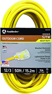 Southwire 2588SW0002 Outdoor Extension Cord- 12/3 American Made SJTW Heavy Duty 3 Prong..