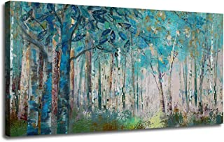 Ardemy Canvas Wall Art Blue Tree Forest Landscape Picture Prints, Modern Birch Trees..