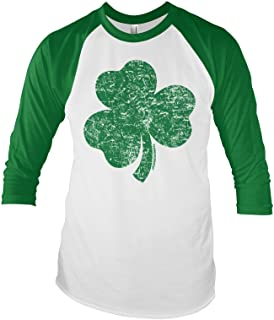 Threadrock Distressed Green Shamrock Unisex Raglan T-Shirt