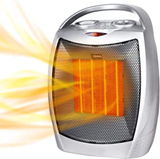 Portable Electric Space Heater – 1500W/750W Personal Room Heater with Thermostat,..