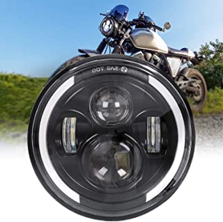 Zmoon 7 Inch Round LED Motorcycle Headlight with 75W Cree Hi/Lo Beam, Amber & White..