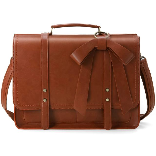 Amazon.com: ECOSUSI Women Briefcase PU Leather Laptop Bag College Satchel  Bag Professional Shoulder Laptop Bag Computer Bag with Detachable Bow fits  15.6 inch Laptops: Computers & Accessories