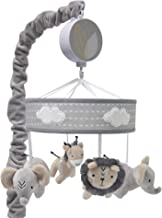 Lambs & Ivy Jungle Safari Musical Baby Crib Mobile – Gray, Beige, White, Animals