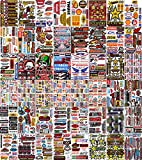 Pack of 8 Sheets Car Racing Random Sticker Decal Brand Logo Drink Motocross Motorcycle Truck Bicycle Bike Graphic Logo Stickers Fire Flame Tattoo Sign Symbol