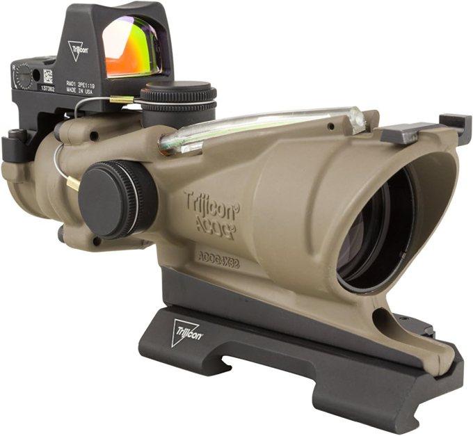 Amazon Com Trijicon 4x32mm Acog Dual Illumination Green Crosshair Reticle Flat Dark Earth Optics Sports Outdoors