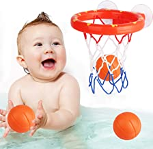 zoordo Bath Toys Bathtub Basketball Hoop Balls Set for Toddlers Kids with Strong Suction..