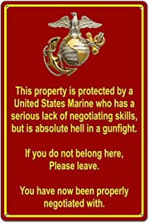 Property Protected by Marine USMC Marine Corps Funny Tin Sign Metal Sign Metal Decor Wall..