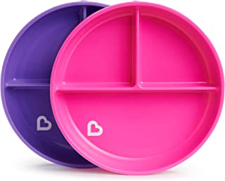 Munchkin Stay Put Divided Suction Plates, Pink/Purple