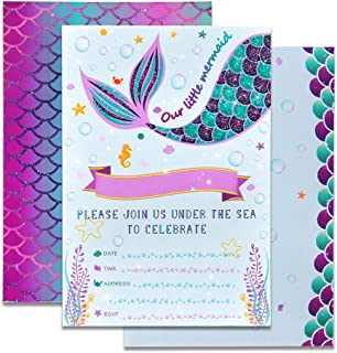 WERNNSAI Mermaid Party Invitations – 20 Set Magical Glitter Fill in Mermaid..