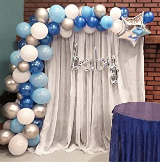 Balloon Garland Arch Kit Blue and White Silver 16Ft Long 100pcs Balloons Pack For Boy..