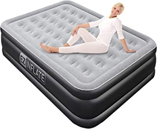 EZ INFLATE Luxury Double High Queen air Mattress with Built in Pump, Queen Size,..