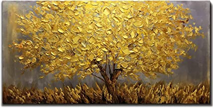 Boiee Art,24x48Inch 3D Hand Painted Abstract Golden Tree Oil Paintings on Canvas..