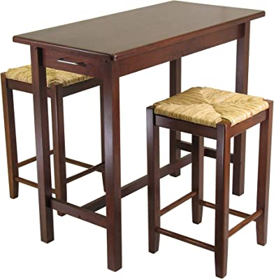 Amazon Com Winsome Kitchen Island Table With 2 Rush Seat Stools 2 Cartons 3 Piece Kitchen Islands Carts