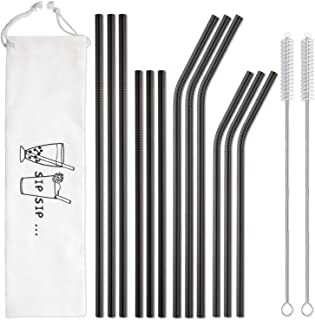 Hiware 12-Pack Black Stainless Steel Straws Reusable with Case – Metal Drinking..