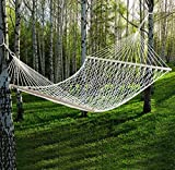 59' Cotton Hammock Double Wide with Solid Wood Spreaders 2 Person 450lbs