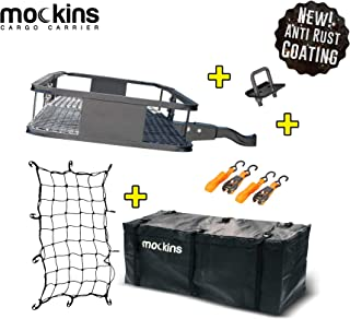 Mockins Hitch Mount Cargo Carrier with Cargo Bag and Net |The Steel Cargo Basket is 60..
