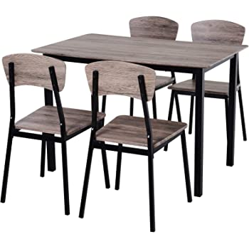 Homcom 5 Pieces Compact Dining Table Set 4 Chairs Wood Kitchen Dining Room Furniture Grey Amazon Co Uk Kitchen Home