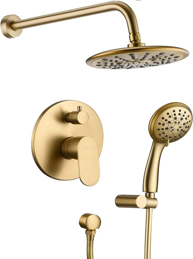 """Shower System, Wall Mounted Shower Faucet Set for Bathroom with High  Pressure 21"""" Rain Shower head and 21-Setting Handheld Shower Head Set,  Pressure"""