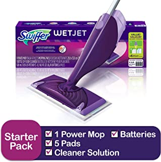 Swiffer Wetjet Hardwood & floor Spray Mop Cleaner Starter Kit, Includes: 1 Power Mop, 5 Pads, Cleaner Solution, Batteries