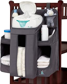 hiccapop Hanging Diaper Organizer for Changing Table and Crib, Diaper Stacker and Crib..