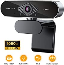 HD 1080P Webcam with Microphone, DEPSTECH USB Webcam with Auto Light Correction for..