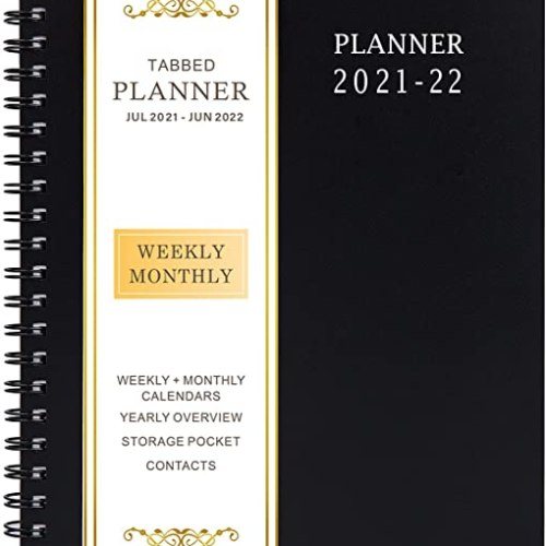 """2020-2021 Planner - Academic Weekly & Monthly Planner, 6.25"""" x 8.3"""", Jul 2020-Jun 2021, Flexible Cover,12 Monthly Tabs, 21 Notes Pages, Twin-Wire Binding with Two-Sided Inner Pocket"""