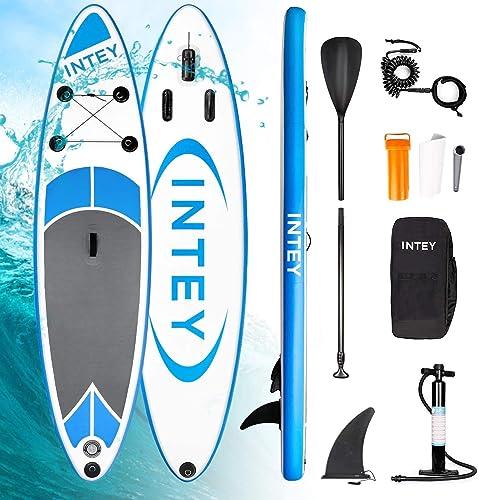 INTEY Stand Up Paddle Board Gonflable, Sup Planche en PVC Construction Ultra Robuste, Kit avec Pagaie, Pompe à Double...