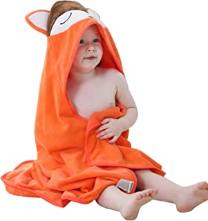 MICHLEY Animal Hooded Baby Towel Washcloth, Toddler Premium Cotton Absorbent Bathrobe for..