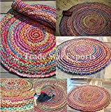 Round Braided Rug, 28' Decorative Floor Mat, Reversible Outdoor Rug, Indian Handmade Carpet, Assorted Multi Color Rug for Living Room