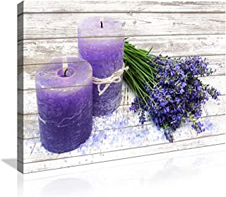 Canvas Wall Art in Purple Candles and Lavender Flower Painting Pictures Print on Canvas..