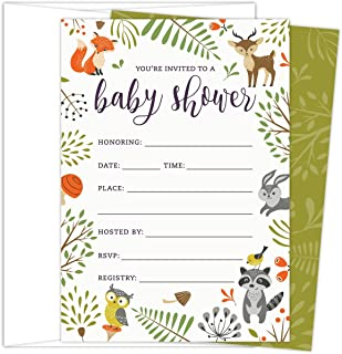 Woodland Baby Shower Invitations with Owl and Forest Animals. Set of 25 Fill-in Style..