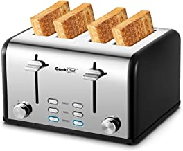 Toaster 4 Slice, Geek Chef Stainless Steel Extra-Wide Slot Toaster with Dual Control..