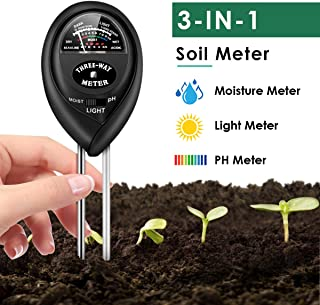 Soil Test Kit, 3-in-1 Soil Moisture Light PH Tester Gardening Tool Kits for Home, Garden,..