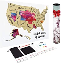 JARLINK Scratch off USA Map, 12X17 inches United States Map with Unique Accessories Set,..
