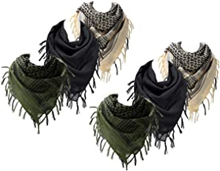 3 pack Cotton Military Shemagh Arab Tactical Desert Scarf Wrap Tassel Keffiyeh 43 x 43 Inch for Women and Men