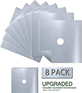 Antallcky 8-Pack Silver Stove Burner Covers Gas Range Protectors Gas Cooktop Liner Cover..